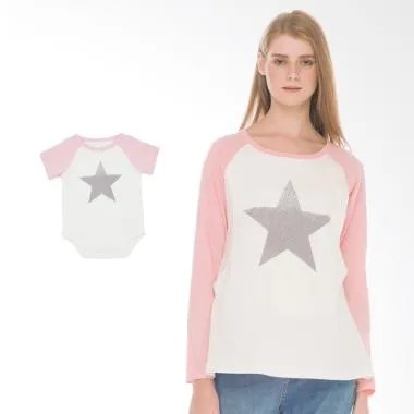 Mooimom Star Long Sleeve T-shirt Set Baju Hamil Menyusui Couple - Pink
