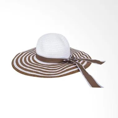 Elfs Shop Beach Hat Girl Big White  ... antai Wanita - Coklat Tua