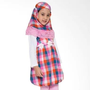 4 You Moslem Plaid Dress Anak - Fuschia