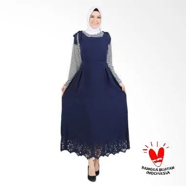 Jfashion Blouse Salur dan Long Dres ... uslim Wanita - Earth Navy
