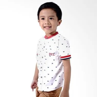 Kids Icon Stand Up Collar Shirt Wit ... os Bayi Laki-Laki - White
