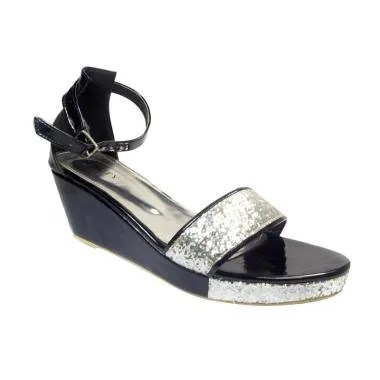Beauty Shoes 1023 Sandal Wedges - Silver
