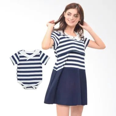 Mooimom Boy Dress Set Baju Couple Hamil Menyusui & Anak - Navy