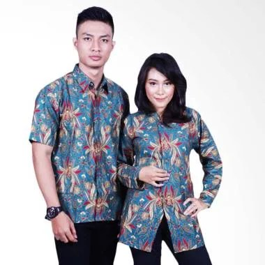 Batik Putri Ayu Solo SRB600 Baju Batik Couple - Biru