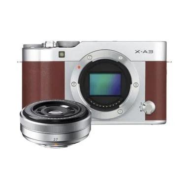Fujifilm X-A3 Body Brown  + Lensa X ... ilver - Kamera Mirrorless