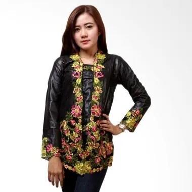 Batik Distro BA6119 Renda Panjang Kebaya Wanita - Hitam