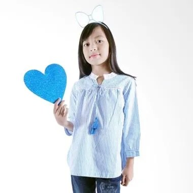 Kids Icon Blouse With Lace And Tassel Baju Anak Perempuan - Blue