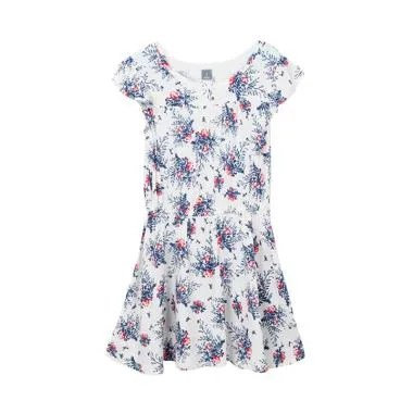 Cargo Girls Branded Cotton Floral Dress Anak Perempuan - White