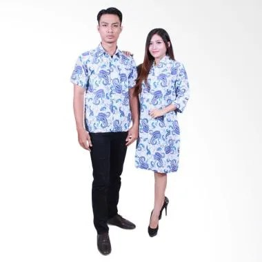 Batik Putri Ayu Solo SRD 501 Dress Katun Batik Couple - Biru
