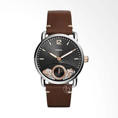 FOSSIL The Commuter Jam Tangan Pria Brown Leather Strap
