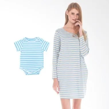 Mooimom Comfort Stripe Long Sleeves ... il Menyusui & Anak - Blue