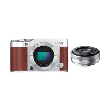 Fujifilm X-A3 with XF 27mm f/2 Silv ... id - Brown + SD Card 16GB