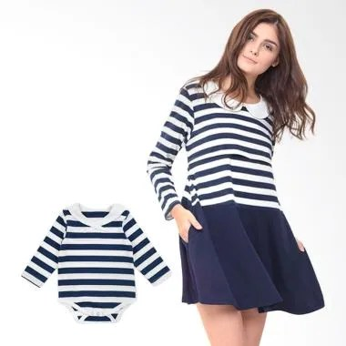 Mooimom Round Neck Long Sleeves Nur ... enyusui Couple - Navy Boy