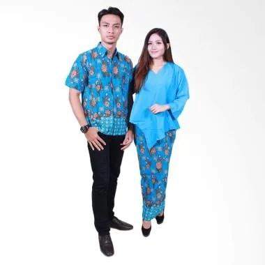 Batik Putri Ayu Solo SRD506 Sarimbit Set Baju Batik Couple - Biru