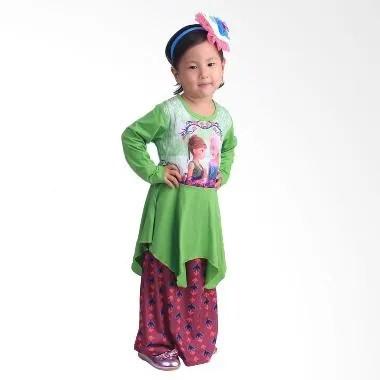 Chloe Babyshop F548 Frozen Rok Batik Gamis Anak - Hijau