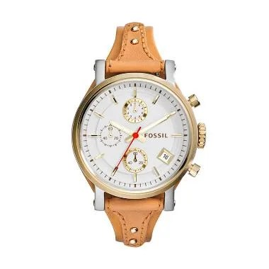 Fossil Original Boyfriend Chronogra ... ngan Wanita - White Brown