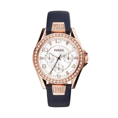 Fossil Riley Blue Leather Strap Rose Gold Jam Tangan Wanita