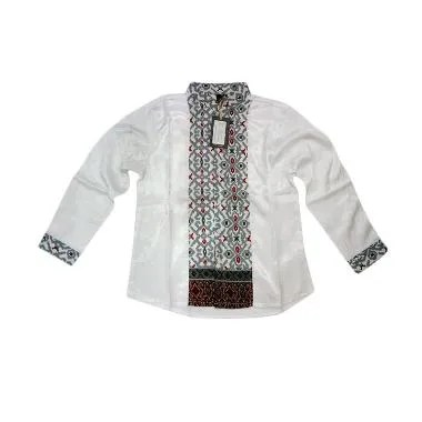 Little Superstar Shirt 2 Tone Ls Batik Koko Anak - White Grey