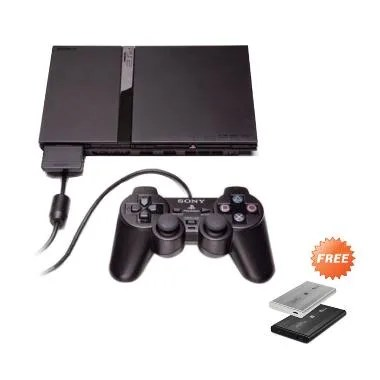 Sony PlayStation 2 Slim Series 7 Ga ... ree 100 Games dan 10 Disc