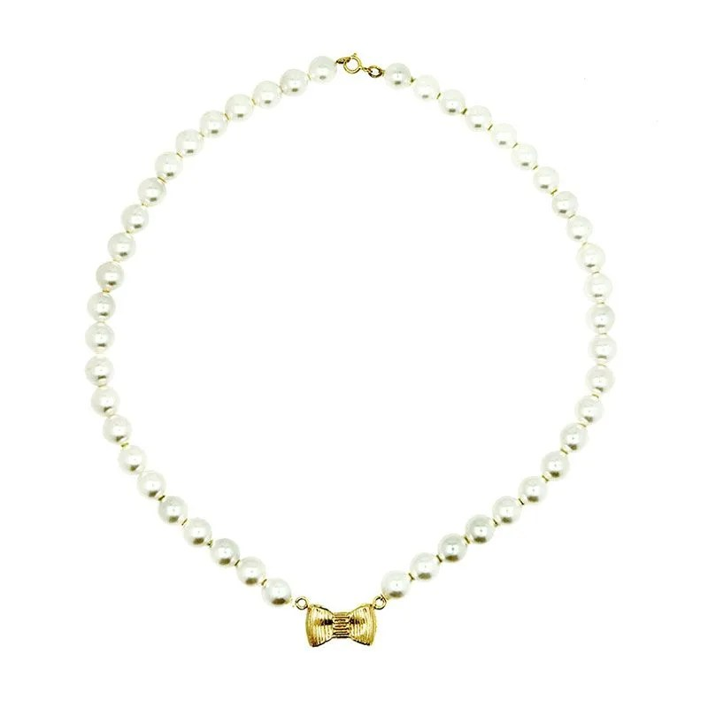 Knot Jewelry Bow Pearl Kalung for K ...