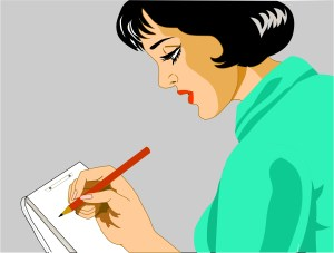 Graphic illustration of a lady (secretary) taking notes. From dreamstime.com.