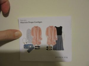 Stitchfix.com  clothing leaflet showing the cardigan I kept.