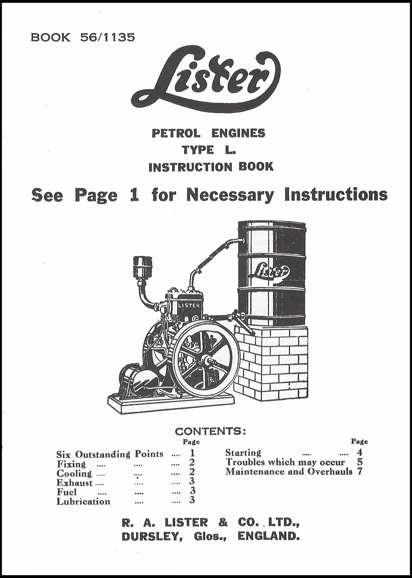 Lister L Instruction Book Lister Engine Books Books Transfers Amp Name Plates Stationary
