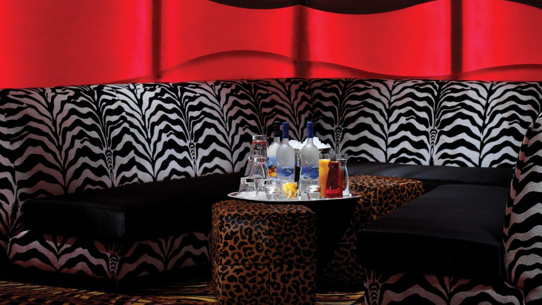 a photo of the booths at rocks lounge