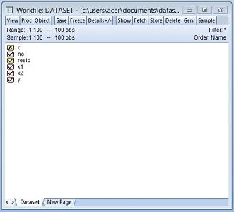 Dataset regresi linear dengan eviews