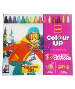 Cello Colour Up Plastic Crayons 15 by StatMo.in