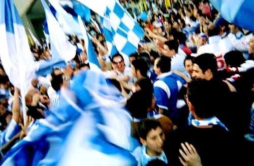 Curva in festa del Manfredonia calcio (Ph: Luigi Starace, Manfredonia, archivio, curva Miramare con tifosi)