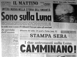 Giornali d'annata, sbarco uomo sulla Luna (image from www.adnkronos.com)