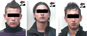 I tre arrestati dai carabinieri di Altamura