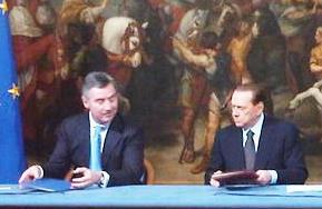 Accordo Italia-Montenegro (6 feb) Berlusconi e il premier Milo Djukanovic (www.servizi-italiani.net)