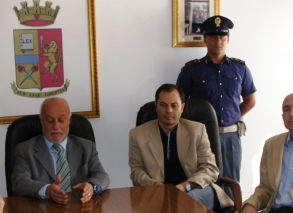 L'attuale Questore di Foggia Bruno D'Agostino nell'ultima conferenza stampa del suo mandato (fonte image : N.Saracino)