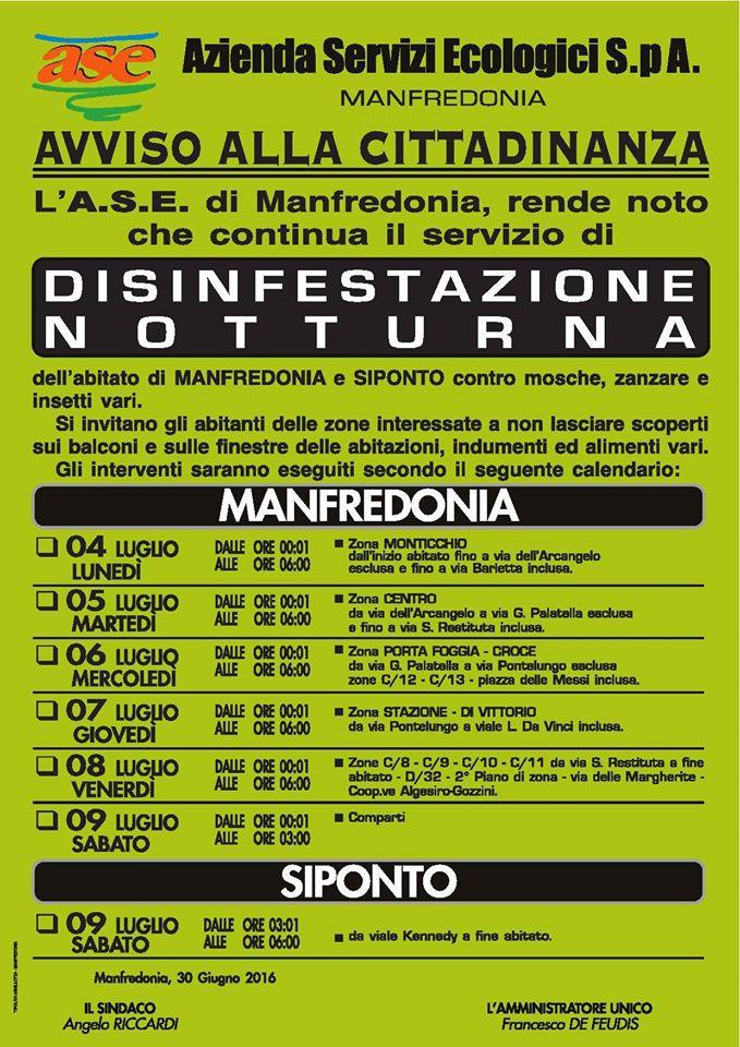 Manifesto - disinfestazione