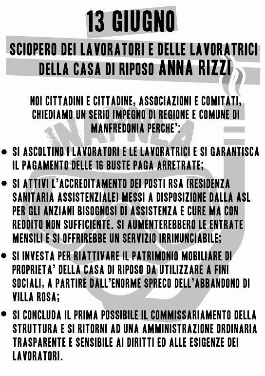 """Manfredonia, sciopero lavoratori e lavoratrici Casa di Riposo """"Anna Rizzi"""""""