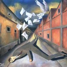 """Nel quadro """"La fuga"""" del 1984 (cm 90x99) l'uomo è piatto per la paura, e sembrerebbe fuggire - All rights reserved – © Wolfgang Lettl"""