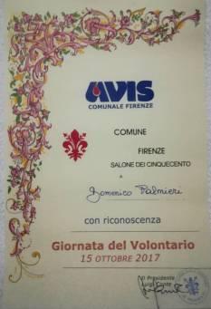 Attestato AVIS di Firenze