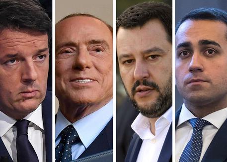 Elezioni: Renzi, Berlusconi, Salvini e Di Maio (combo ansa)