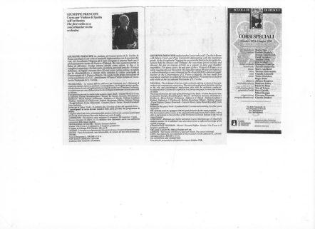 1994-Corso di violino di spalla a Fiesole diretto dal M° Giuseppe Prencipe