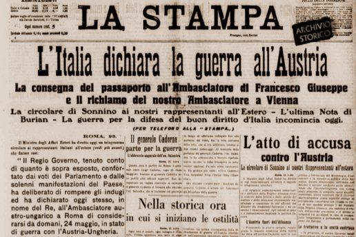 La prima pagina de La Stampa del 24 maggio 1915.