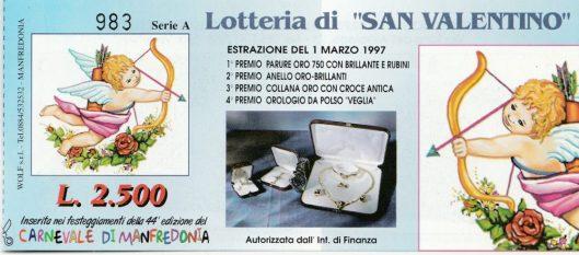 1997-Lotteria S.Valentino abbinata al carnevale di Manfredonia
