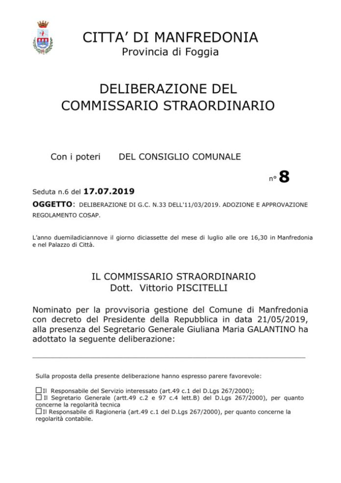 CP n008 del 17072019_Nuove Tariffe Cosap Manfredonia