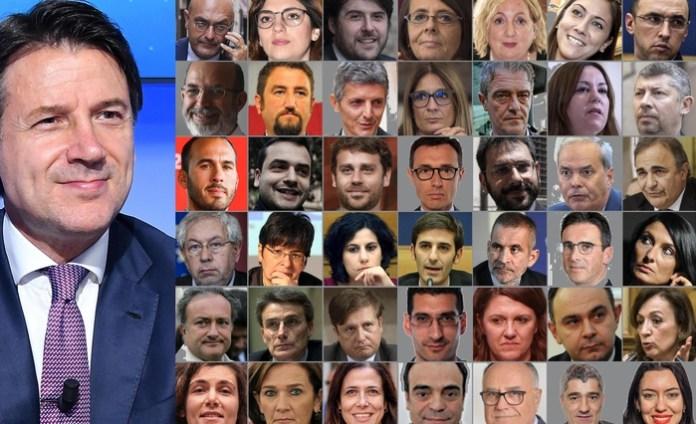 In una combo viceministri e sottosegretari del nuovo governo Conte con il premier (a sinistra), Roma, 13 settembre 2019. ++prima fila alta da sin.: Antonio MISIANI (PD) - Laura CASTELLI (M5S) - Stefano BUFFAGNI (M5S) - Marina SERENI (PD) - Emanuela DEL RE (M5S) - Anna ASCANI (PD) - Matteo MAURI (PD) ++++seconda fila da sin.: Vito CRIMI (M5S) - Giancarlo CANCELLERI (M5S) - Andrea MARTELLA (PD) - Simona MALPEZZI (PD) - Gianluca CASTALDI (M5S) - Laura AGEA (M5S) - Ivan SCALFAROTTO (PD) . terza fila da sin.: Manlio DI STEFANO (M5S) - Carlo SIBILIA (M5S) - Vittorio FERRARESI (M5S) - Andrea GIORGIS (PD) - Angelo TOFALO (M5S) - Achille VARIATI (PD) - Ricardo MERLO (GRUPPO MISTO) - ++++quarta fila da sin.: Pierpaolo BARETTA (PD) - Maria Cecilia GUERRA (LEU) - Mirella LIUZZI (M5S) - Alessio VILLAROSA (M5S) - Gian Paolo MANZELLA (PD) - Mario TURCO (M5S) - Alessia MORANI (PD) - +++quinta fila ++ da sin.: Salvatore MARGIOTTA (PD) - Roberto Morassut (PD) - Pierpaolo SILERI (M5S) - Giuseppe L'ABBATE (M5S) - Francesca PUGLISI (PD) - Giuseppe DE CRISTOFARO (PD) - Sandra ZAMPA (PD) - +++ultima fila da sin.: Laura ORRICO (M5S) - Lorenza Bonaccorsi (PD) - Alessandra TODDE (M5S) - Bruno CALVISI (M5S) - Stanislao DI PIAZZA (M5S) - Roberto TRAVERSI (M5S) - Lucia Azzolina (M5S) . ANSA