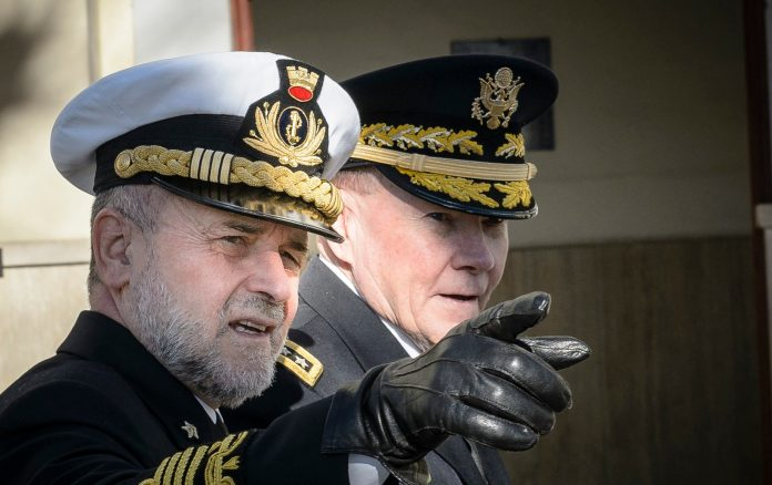 U.S. Army Gen. Martin E. Dempsey, Chairman of the Joint Chiefs of Staff, and his Italian counterpart Adm. Luigi Binelli-Mantelli in Rome, Italy, Jan. 19, 2015. (DOD photo by D. Myles Cullen/Released)