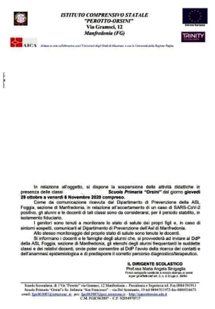 Manfredonia, positività COVID nella scuola primaria Orsini: isolamento e stop lezioni