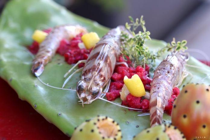 Am-mazza che fico ! - Mazzancolle e fico d'india, il piatto del giorno della Lady Chef Manfredonia Rosa Maria Coppolecchia.