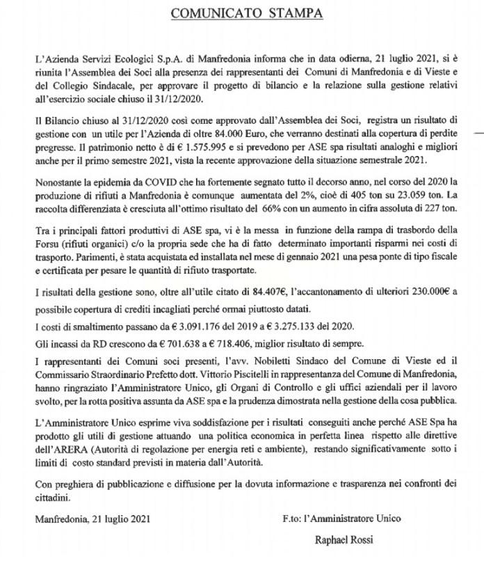 """Manfredonia, ASE: """"Bilancio chiuso con utile di oltre 84mila Euro"""""""