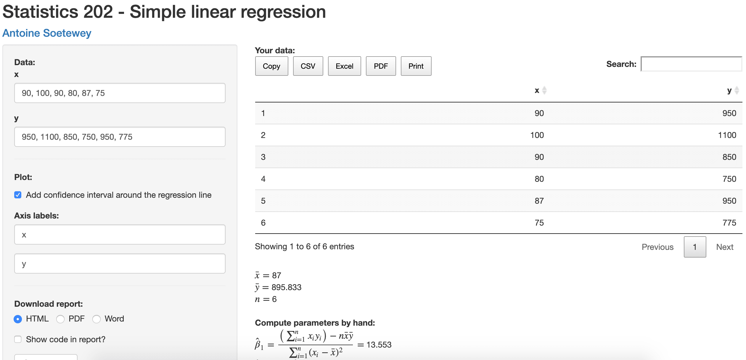 A Shiny App For Simple Linear Regression By Hand And In R